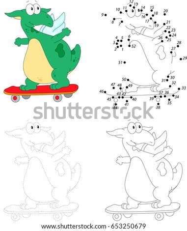 a happy skateboard green dragon