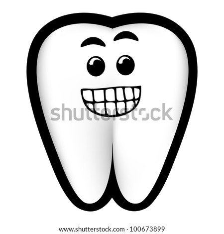 A happy white tooth cartoon.