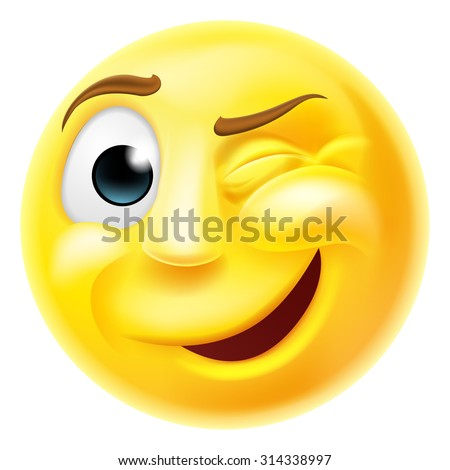 A happy winking emoji emoticon smiley face character winking one eye