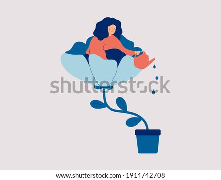 A happy woman sits in the flower and waters it. Smiling girl cares about herself and her future. Concept of love yourself and a healthy lifestyle. Vector illustration.