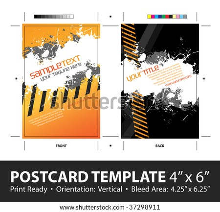 A hazard stripes postcard or direct mailer design template with sample text. Easily customize this vector image to suit the needs of your business. Print ready 4 x 6 with bleeds and crop marks.