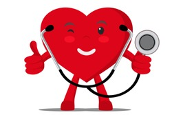 A healthy heart shows the like and holding a stethoscope.