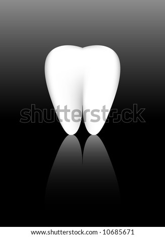 A healthy white tooth made from gradient mesh.