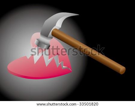 a heart broken by a hammer