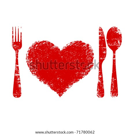 A heart health concept red heart plate knife spoon and fork