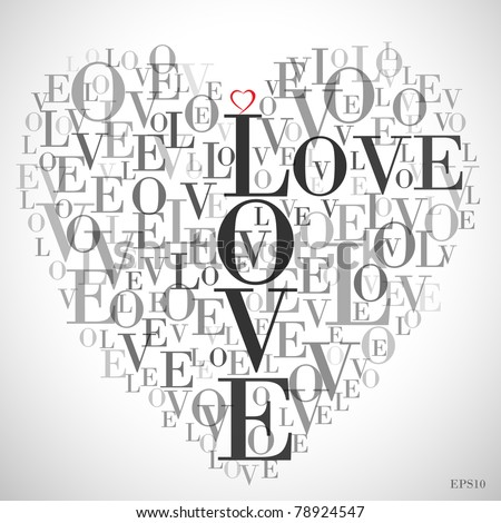"A heart made of words ""LOVE"""
