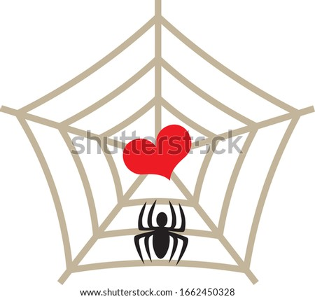 a heart trapped in a spider's