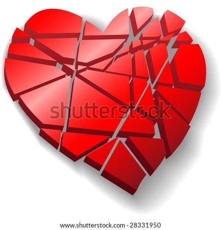 heart broken love. stock vector : A heartbroken