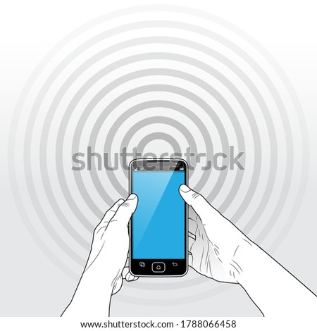 A held Smart Phone with A faintly seen 5G / Wi-Fi / Bluetooth radio signal emitting from behind the device. Сток-фото ©