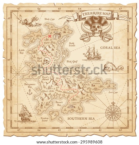 """A Hi detail, grunge Vector """"Treasure Map"""" with lots of decoration hand drawn with incredible details. #295989608"""