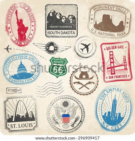 A High Detail collection of various stamps of Famous monuments and icons of US culture