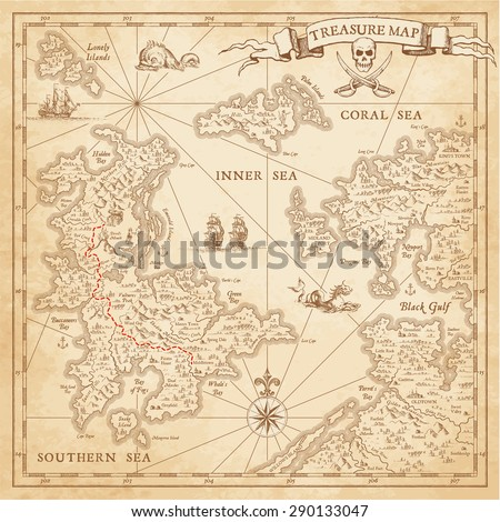 """A High detail, grunge Vector """"Treasure Map"""" with lots of decoration hand drawn with incredible details.   #290133047"""