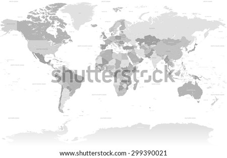 A High Detail vector Map set composed by a full map of the world in grey colors. All countries are named with the respective english name with country capitals, major cities, lakes and seas.