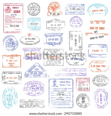 A high quality collection of vector passport stamps.