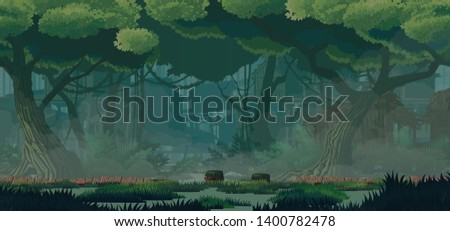 A high quality horizontal background swamp city location. Swamp abandoned wooden huts, wooden bridges. For use in developing, prototyping  adventure, side-scrolling games or apps.