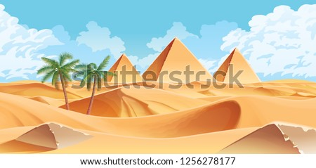 A high quality horizontal background with desert and palms. Pyramids on the horizon. For use in developing, prototyping  adventure, side-scrolling games or apps.