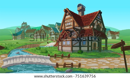 A high quality horizontal seamless background - vector village. Old European village. Summer background with buildings use for infographics and side-scroller games.