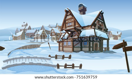 A high quality horizontal seamless background - vector village. Old European village. Winter background with buildings use for infographics and side-scroller games.