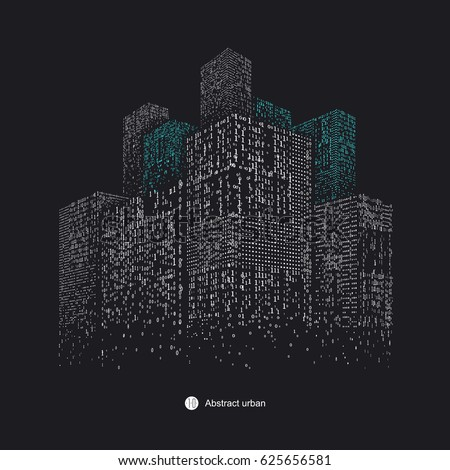 A high - rise graphic design consisting of binary numbers.