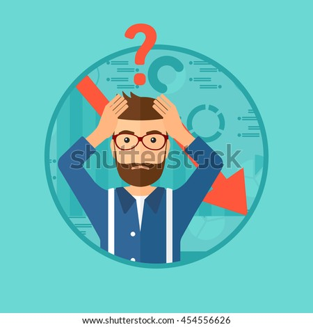 A hipster bankrupt clutching his head. Bankrupt with a big question mark above his head. Concept of business bankruptcy. Vector flat design illustration in the circle isolated on background. Stock photo ©