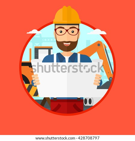 A hipster engineer watching a blueprint at construction site. Man with engineer blueprint. Engineer holding a blueprint. Vector flat design illustration in the circle isolated on background.