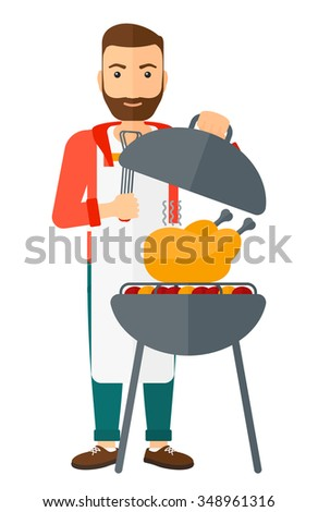 A hipster man with the beard cooking chicken on barbecue vector flat design illustration isolated on white background. Vertical layout.