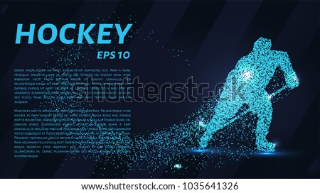 A hockey game consists of points. Particles in the form of a hockey player on a dark background. Vector illustration. Graphic concept of hockey