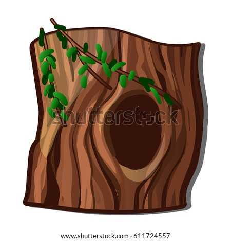 A hollowed out old tree isolated on white background. Vector cartoon close-up illustration. Foto stock ©