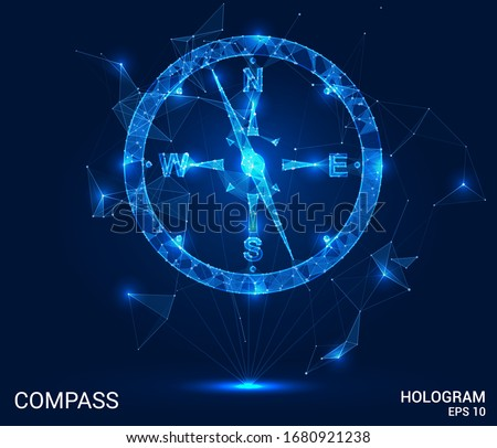A hologram compass. A compass of polygons, triangles , points, and lines. Compass is a low-poly compound structure. The technology concept.