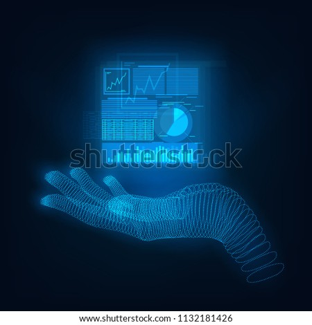 A hologram hand holding or demonstrating analytical Infographic #1132181426