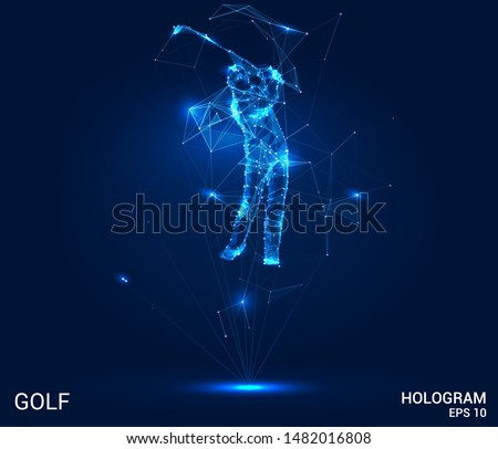 A hologram of Golf. Golfer of polygons, triangles of points and lines. Golf is a low poly connection structure. Technology concept.