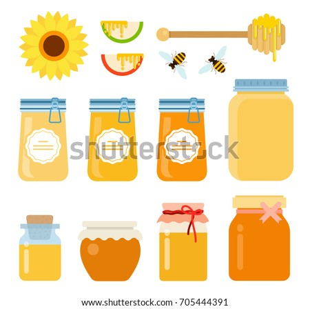 A honey set of glass containers, bees, a honeyed wooden spoon with honey drops, a flower of a sunflower and slices of apples with honey flows vector flat material design isolated on white