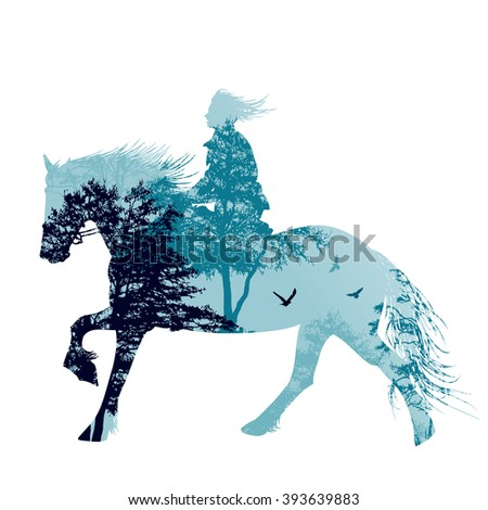 a horse rider silhouette with