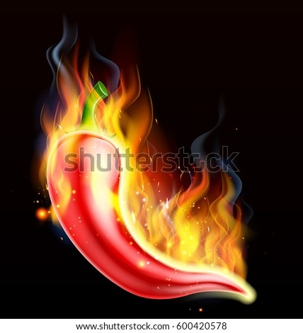 A hot spicy red chilli pepper on fire, covered in flames