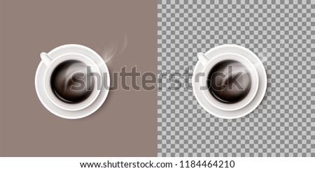 A hot steaming coffee drink in white ceramic cup or mug on round saucer. Vector realistic object isolated on transparent background.