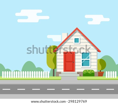 A house along the road. Part of the rural landscape. Vector illustration in flat style.