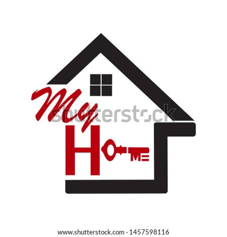 "a house icon with writing formed from the letter ""H"" and a key forming the words ""My Home"""