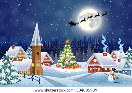 stock vector a house in a snowy christmas landscape at night christmas tree and snowman background with moon 504085939 - Каталог — Фотообои «Для детской»