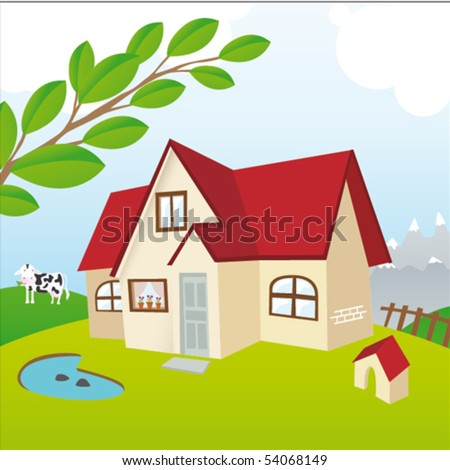 A house in the country - stock vector