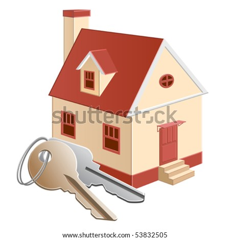 A house model with a keys bunch - stock vector