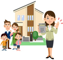 A house with a family, a woman in a construction shop who shows a calculator and shows an OK sign