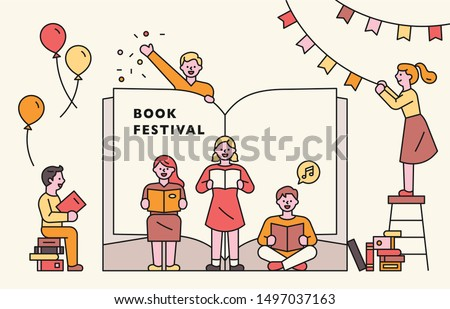 A huge book is opened, and small people are reading in front of it. Book Festival Poster Concept. flat design style minimal vector illustration.
