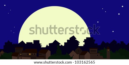 A huge moon over the city
