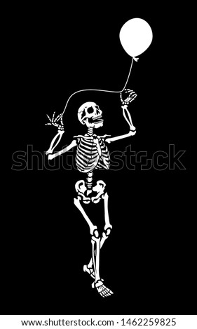 A human skeleton with a balloon. Halloween party. A dancing skeleton pose. Great for greeting cards, invitations, tattoo, for printing on T-shirts and more. Happy Halloween!