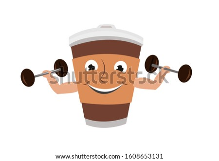 A humanoid cup carries a dumb bell made of coffee beans. Healthy drink benefits concept. Editable Clip Art.