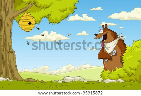 A hungry bear watching bee hive, vector illustration - stock vector