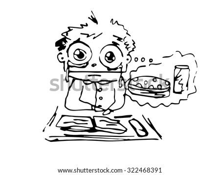 a hungry boy at school  sketch