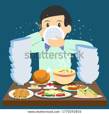A hungry man eating a lot of food deliciously vector Stock photo ©