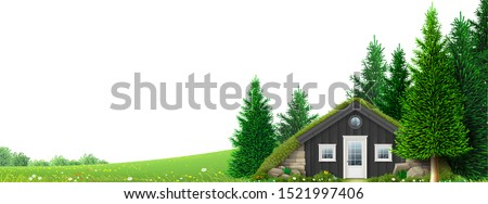 a hut on the edge of the forest