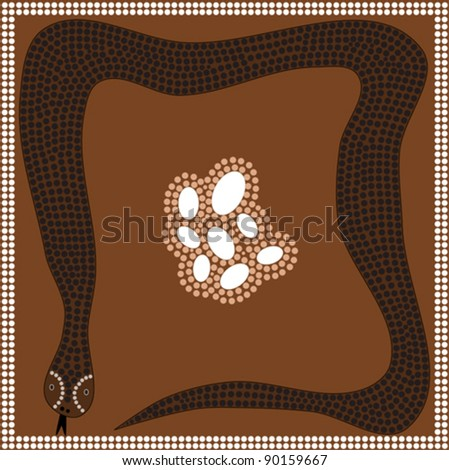 A illustration based on aboriginal style of dot painting depicting big snake protects their eggs
